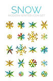 Set of Christmas snowflake icons Stock Photo