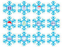 Set of Christmas snowflakes. Set of blue Christmas snowflakes vector illustration Royalty Free Stock Photo