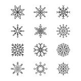 A set of Christmas snowflakes. Snowflakes,  set of twelve pieces Stock Images