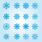 Set of Christmas snowflakes. Set of 16 Christmas snowflakes. Vector illustration Stock Images