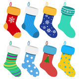 Set of Christmas socks Stock Images