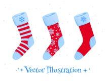 Set of Christmas socks Stock Photos