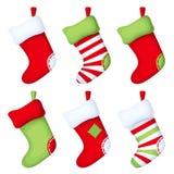 Set of Christmas socks. Vector illustration. Stock Photo