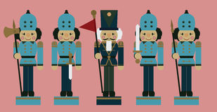 Set of christmas soldier nutcrackers Royalty Free Stock Image