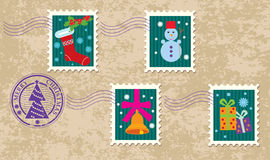 Set of christmas stamp Royalty Free Stock Photos