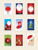 Set of christmas stamps. Nine different designs Royalty Free Stock Image