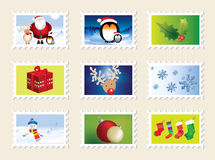 Set of christmas stamps. Nine different designs Stock Images