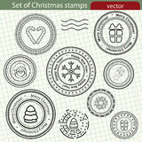 Set of Christmas stamps. stock illustration