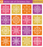 Set with christmas star over color backgrounds. Vector illustration Royalty Free Stock Photography