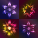 Set of Christmas stars shaped with light Stock Photography