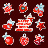 Set of Christmas sticker toys on a red background Stock Photography