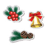 Set of Christmas stickers Stock Image