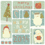 A set of Christmas stickers. Can be used as magnets, stamps, stickers, postcards, greeting cards, etc. Eps 10 Stock Photography