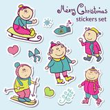 Set of Christmas stickers Royalty Free Stock Photography