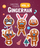 Set of christmas stickers with expressive gingerbread man cookies. Vector illustration Stock Image