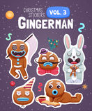 Set of christmas stickers with expressive gingerbread man cookies. royalty free illustration