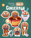 Set of christmas stickers with expressive gingerbread man cookies. Vector illustration Royalty Free Stock Photos