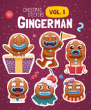 Set of christmas stickers with expressive gingerbread man cookies. Vector illustration Stock Photography