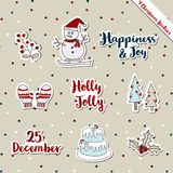 Christmas stickers-snowman Warm wishes theme. A set of Christmas stickers, scrapbook, gift tags with text, snowman, cake, warm wish items, wool gloves, Christmas Stock Images