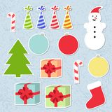 Set of christmas stickers. For your design Stock Photo