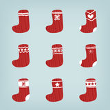 Set of Christmas Stockings Stock Photos