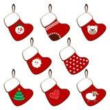Set of Christmas stockings. On a white background Stock Photos