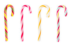 Set of Christmas striped candy canes. Isolated on white background Royalty Free Stock Images
