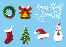 Set of Christmas Stuff. 12 label, XMas icon. Cartoon style. Vect. Or Illustration Royalty Free Stock Photography