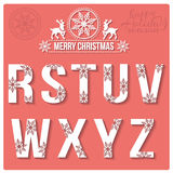 Set of Christmas stylized alphabet with snowflakes Stock Photo