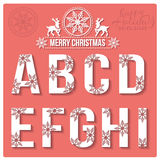 Set of Christmas stylized alphabet with snowflakes Stock Photography
