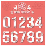Set of Christmas stylized numbers with snowflakes Royalty Free Stock Images