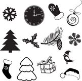 Set of christmas subjects and decorations Royalty Free Stock Images