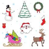 Set of Christmas symbols. Deer, Christmas tree, snowman,Santa Claus, gifts.Cartoon vector illustration. Set of Christmas symbols. Deer, Christmas tree, snowman vector illustration