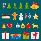 Set of Christmas symbols. In flat style on blue background Stock Photos
