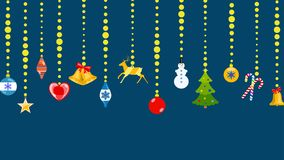 Christmas symbols hanging on ropes of balls. Set of Christmas symbols in flat style hanging on ropes of balls Royalty Free Stock Images