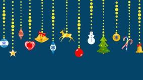 Christmas symbols hanging on ropes of balls. Set of Christmas symbols in flat style hanging on ropes of balls royalty free illustration