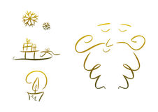 Set of christmas symbols (gold) Royalty Free Stock Images