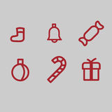 Set of Christmas symbols. On a gray background. It can be used as icons Royalty Free Stock Image
