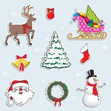 Set of Christmas symbols. Deer, Christmas tree, snowman,Santa Claus, gifts.Cartoon vector illustration. Set of Christmas symbols.Christmas stickers, Deer stock illustration