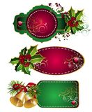 Set of Christmas tags. Tag sale christmas holli bell floral tree stock illustration