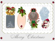 Set of Christmas tags. Tag sale christmas holli bell floral tree snowman Vector Illustration