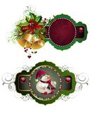 Set of Christmas tags. Tag sale christmas holli bell floral tree snowman Stock Images