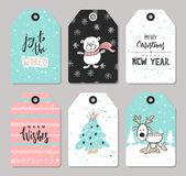 Set of Christmas tags with cute animals and hand drawn decoration elements. Vector illustration. vector illustration