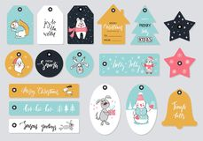 Set of Christmas tags with hand drawn decoration elements. Vector illustration. royalty free illustration