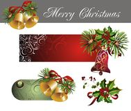 Set of christmas tags with holly and bells. Bell tag ribbon christmas banner celebration Stock Photo