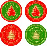 Set of christmas tags. Vector illustration set of festive round tags with a picture of Christmas trees made of ribbons red gold color Royalty Free Stock Photos