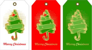 Set of christmas tags. Vector illustration set of holiday tags with christmas and new year with elements of festive decorations Christmas tree with ribbons on Stock Photography