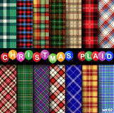 Set Christmas Tartan Seamless Patterns. Vector illustration Vector Illustration