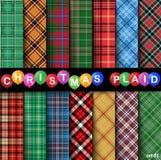 Set Christmas Tartan Seamless Patterns. Vector illustration Stock Photos