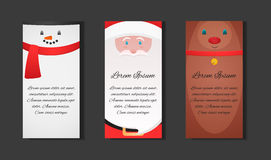 Set Christmas templates with Santa Claus, snowman and reindeer Royalty Free Stock Photo